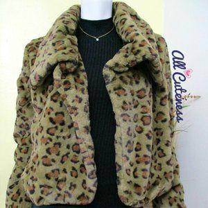 Green Leopard Faux Fur Jacket Coat